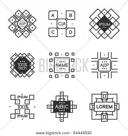Geometric vintage label minimal line art design. Square shaped