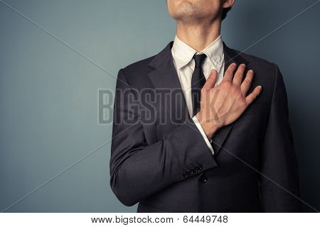 Businessman Swearing Allegiance