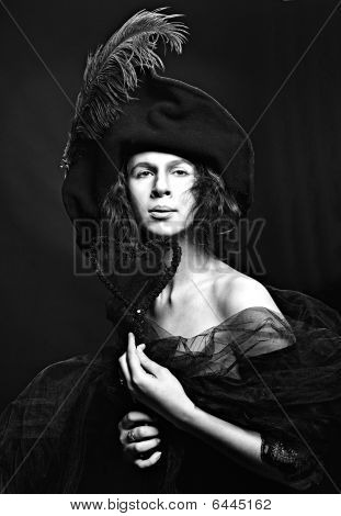 Portrait Of High Society Medieval Lady In Hat