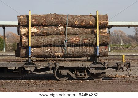 Rail car loaded with logs