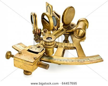 old bronze sextant on the white background