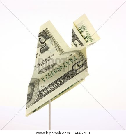 Five dollar bill paper airplane