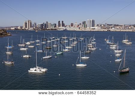 Yacht Club and Downtown San Diego, California