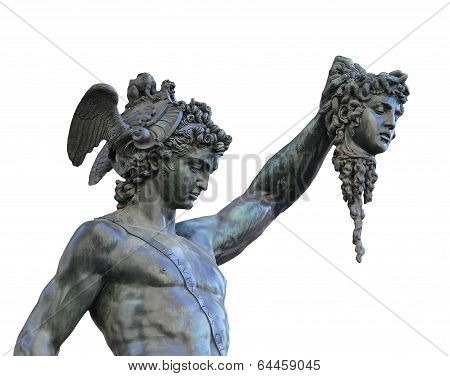 Bronze Statue Of Perseus Holding The Head Of Medusa,florence, Italy