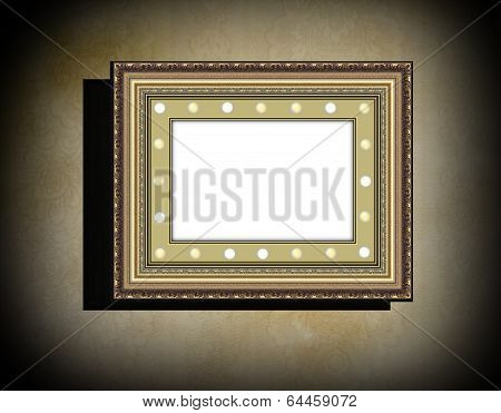 Grunge Wooden Frame  On  Beige  Old Dirty Wall