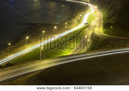 Avenues at Night in Lima, Peru