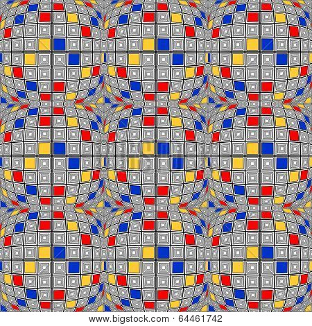 Design Seamless Colorful Warped Checked Mosaic Pattern