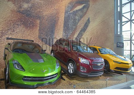 GM cars Chevrolet Camaro, Corvette Stingray C7 and Chevrolet Sonic RS Rally from movie Transformers