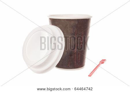 Cup Of Coffee For Take Away With Cap And Spoon