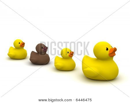 Rubber Duck Mama With Ugly Duckling