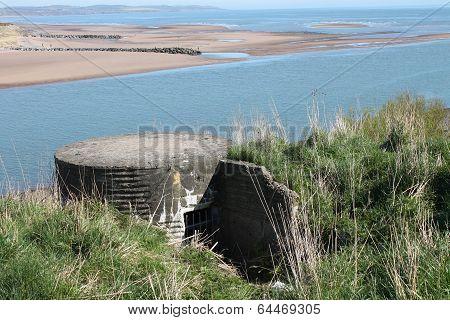WW2 bunker overlooking beach in Scotland