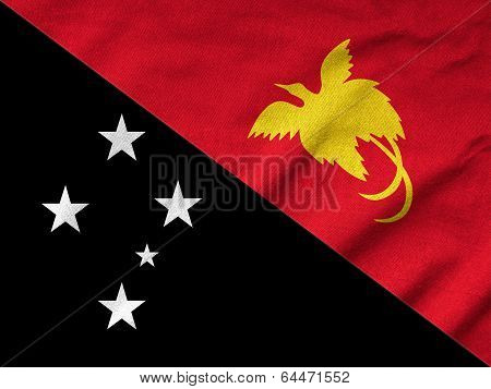 Ruffled Papua New Guinea Flag