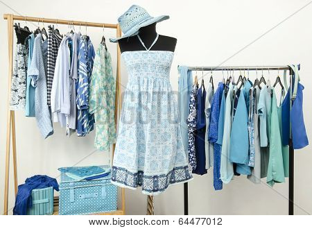 Wardrobe full of all shades of blue clothes and accessories.