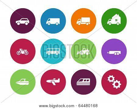 Transport circle icons on white background.