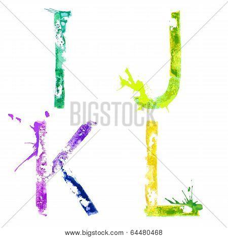 Vector paint splash font I,J,K,L