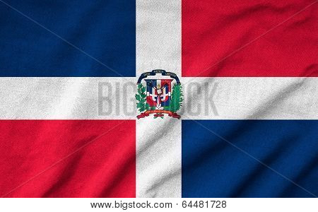 Ruffled Dominican Republic Flag