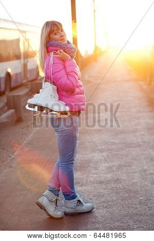 Figure skater girl on the bridge
