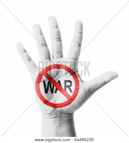 Open Hand Raised, No War Sign Painted, Multi Purpose Concept - Isolated On White Background