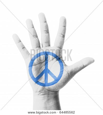 Open Hand Raised, Peace Sign Painted, Multi Purpose Concept - Isolated On White Background