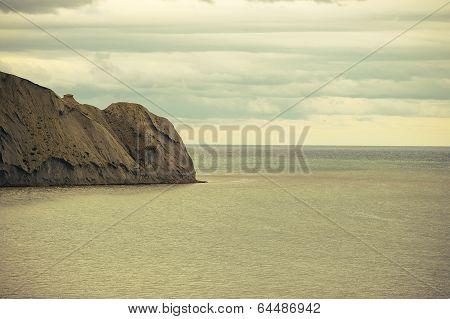 Beautiful Sea And Sky Horizon Landscape With Headland Retro Colors Toning