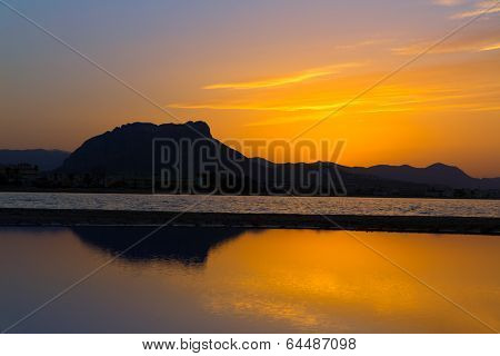 Denia Las Marinas sunset beach in Punta Molins at Alicante Mediterranean Spain