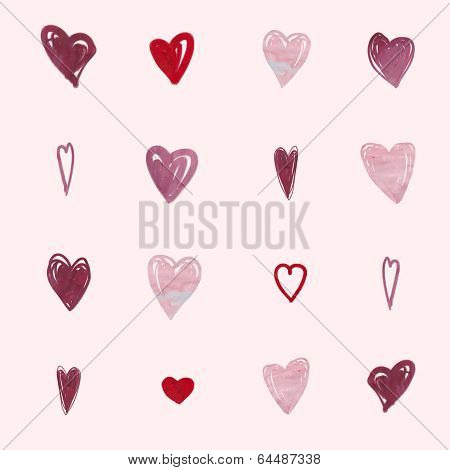 Abstract romantic background pattern. Watercolor heart