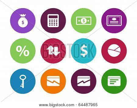 Economy circle icons on white background.