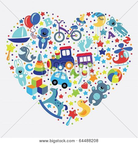 Toys Icons For Baby Boy In  Form Of Heart