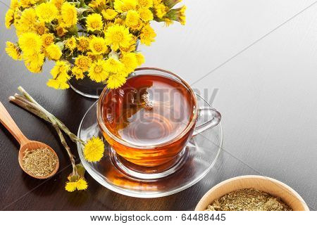 Healthy Tea Closeup, Bucket With Coltsfoot Flower