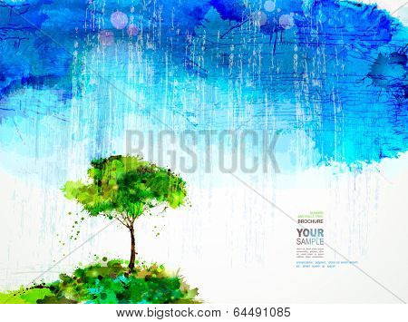 A single tree stands under rain cloud.