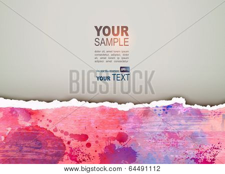 Color grunge scratching vector background.Torn paper