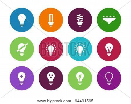 Light bulb and CFL lamp circle icons.