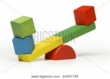 Toys Seesaw Wooden Blocks, Teeter Totter Isolated On White Background Balance Weight Cube