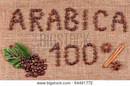 Text of coffee beans hundred percent arabica