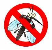 stock photo of killing  - Anti mosquito sign with a funny cartoon mosquito - JPG