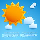 stock photo of hot-weather  - Sun background for summer Hot  poster - JPG