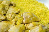 image of biryani  - Chicken Biryani with green chutney - JPG