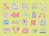 stock photo of dog tracks  - Icons on a veterinary science and care theme house pupils - JPG
