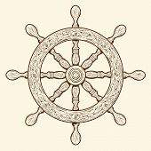 stock photo of rudder  - Detailed brown outlines nautical rudder isolated on beige background - JPG