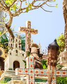 picture of playa del carmen  - Traditional torches on colorful Mexican graveyard near Playa del Carmen - JPG