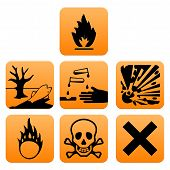 stock photo of hazardous  - Hazard pictograms of Europe standard vector illustration - JPG