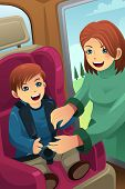 picture of seatbelt  - A vector illustration of mother putting on seatbelt for her son - JPG