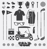 stock photo of golf bag  - Collection of retro style golf icons and silhouettes - JPG