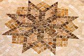 picture of octagon shape  - Marble floor mosaic with octagonal star shape - JPG