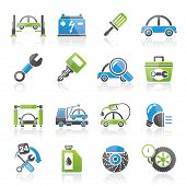 picture of truck-stop  - Car service maintenance icons  - JPG