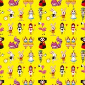 stock photo of alice wonderland  - Seamless Alice In Wonderland Pattern - JPG