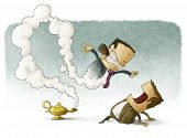 pic of genie  - illustration of Business man with genie boss - JPG