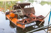 foto of wastewater  - old orange wastewater Treatment machine in Thailand - JPG