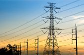 stock photo of power transmission lines  - High - JPG