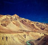 stock photo of himachal pradesh  - Vintage retro effect filtered hipster style travel image of Himalayan landscape in Hiamalayas near Baralacha La pass  with grunge texture overlaid - JPG